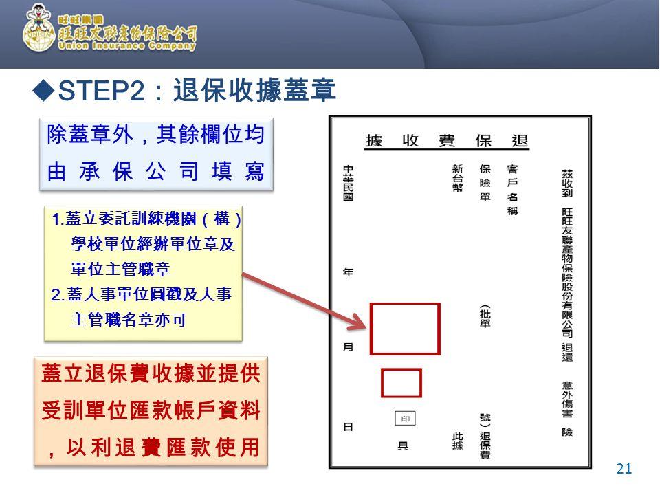  STEP2 :退保收據蓋章 1. 蓋立委託訓練機關(構) 學校單位經辦單位章及 單位主管職章 2.