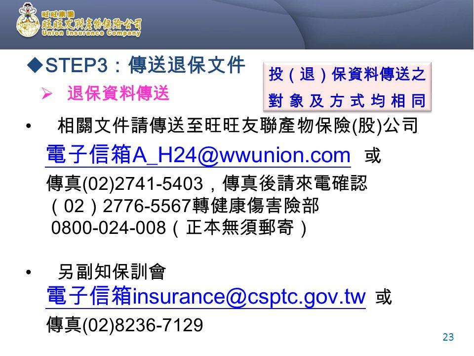  STEP3 :傳送退保文件  退保資料傳送 投(退)保資料傳送之 對象及方式均相同 投(退)保資料傳送之 對象及方式均相同 23 相關文件請傳送至旺旺友聯產物保險 ( 股 ) 公司 電子信箱 A_H24@wwunion.com 或 電子信箱 A_H24@wwunion.com 傳真 (02)2741-5403 ,傳真後請來電確認 ( 02 ) 2776-5567 轉健康傷害險部 0800-024-008 (正本無須郵寄) 另副知保訓會 電子信箱 insurance@csptc.gov.tw 或 電子信箱 insurance@csptc.gov.tw 傳真 (02)8236-7129