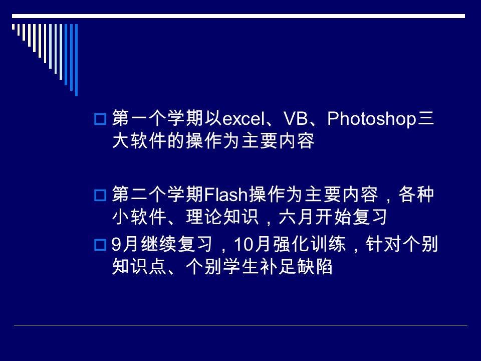  第一个学期以 excel 、 VB 、 Photoshop 三 大软件的操作为主要内容  第二个学期 Flash 操作为主要内容,各种 小软件、理论知识,六月开始复习  9 月继续复习, 10 月强化训练,针对个别 知识点、个别学生补足缺陷