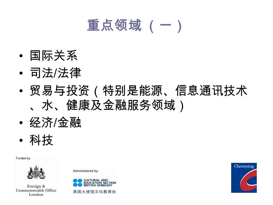 重点领域 (一) 国际关系 司法 / 法律 贸易与投资(特别是能源、信息通讯技术 、水、健康及金融服务领域) 经济 / 金融 科技