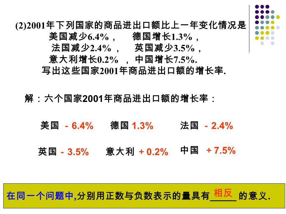 解:六个国家 2001 年商品进出口额的增长率: 美国 - 6.4% 德国 1.3% 法国 - 2.4% 英国- 3.5% 意大利 + 0.2% 中国 + 7.5% 在同一个问题中, 分别用正数与负数表示的量具有 _____ 的意义.