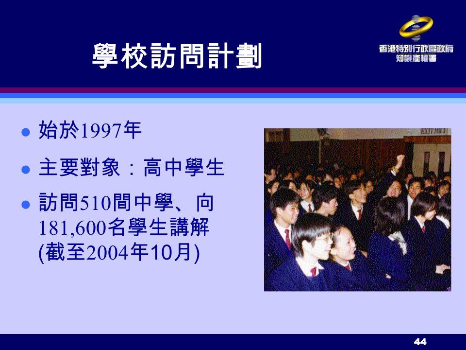 44 學校訪問計劃 始於 1997 年 主要對象:高中學生 訪問 510 間中學、向 181,600 名學生講解 ( 截至 2004 年 10 月 )