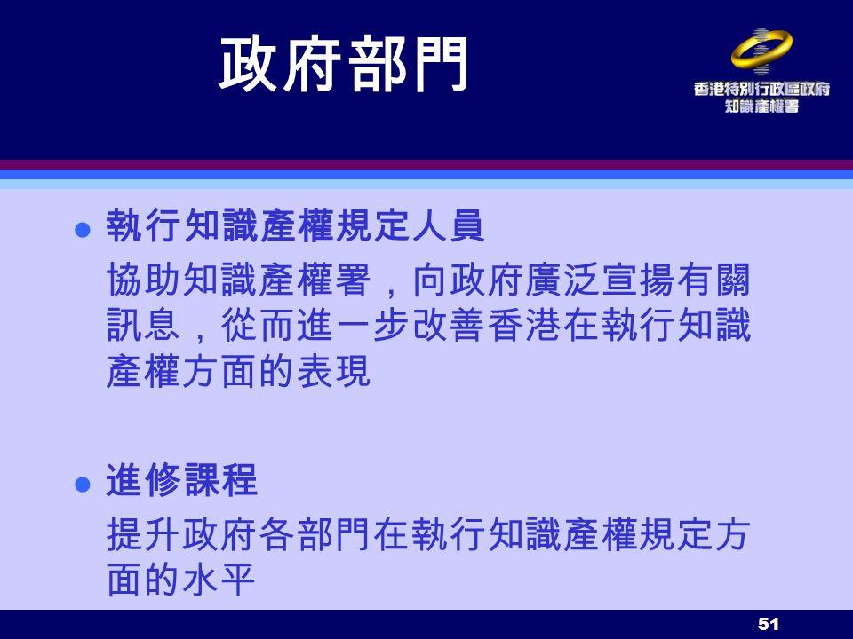 51 政府部門 執行知識產權規定人員 協助知識產權署,向政府廣泛宣揚有關 訊息,從而進一步改善香港在執行知識 產權方面的表現 進修課程 提升政府各部門在執行知識產權規定方 面的水平