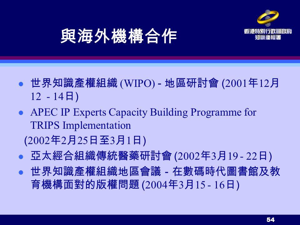 54 與海外機構合作 世界知識產權組織 (WIPO) - 地區研討會 ( 2001 年 12 月 12 - 14 日 ) APEC IP Experts Capacity Building Programme for TRIPS Implementation ( 2002 年 2 月 25 日至 3 月 1 日 ) 亞太經合組織傳統醫藥研討會 ( 2002 年 3 月 19 - 22 日 ) 世界知識產權組織地區會議-在數碼時代圖書館及教 育機構面對的版權問題 ( 2004 年 3 月 15 - 16 日 )