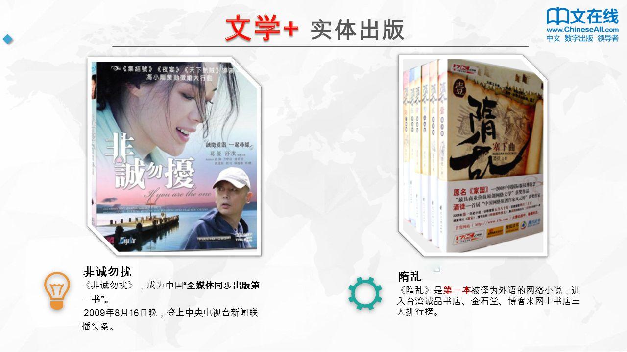 实体出版 《非诚勿扰》,成为中国 全媒体同步出版第 一书 。 2009 年 8 月 16 日晚,登上中央电视台新闻联 播头条。 非诚勿扰 《隋乱》是第一本被译为外语的网络小说,进 入台湾诚品书店、金石堂、博客来网上书店三 大排行榜。 隋乱
