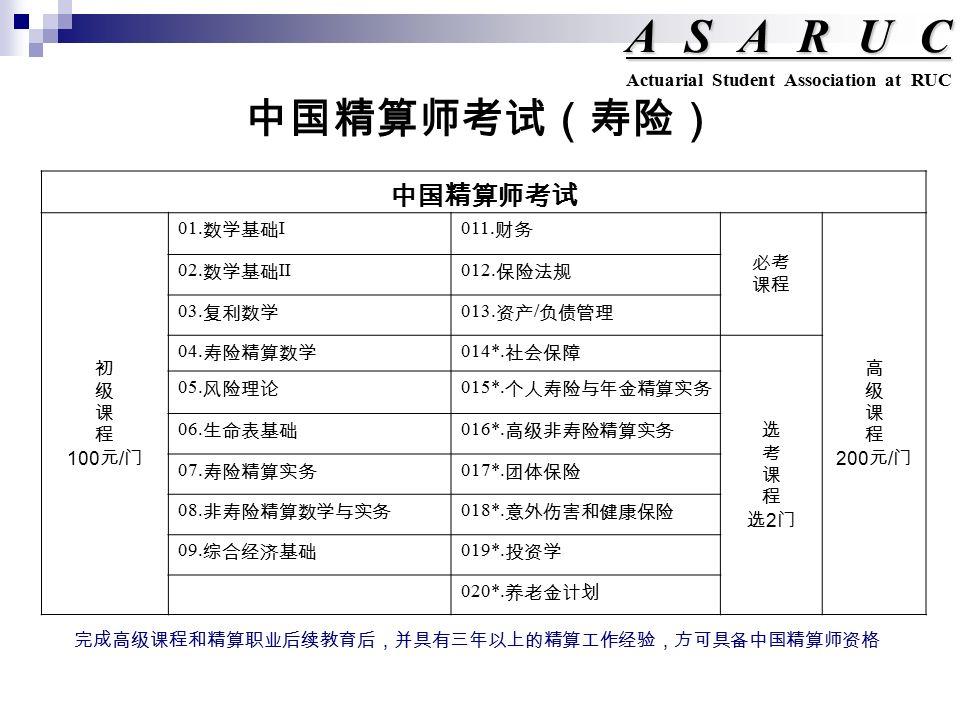 中国精算师考试(寿险) ASARUC Actuarial Student Association at RUC 中国精算师考试 初 级 课 程 100 元 / 门 01.
