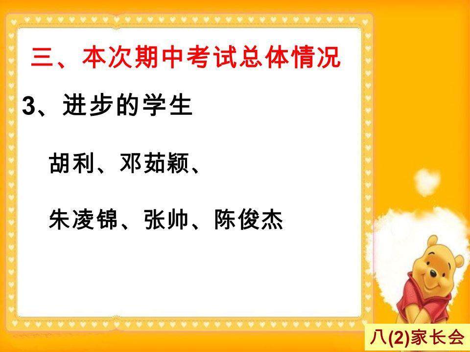 三、本次期中考试总体情况 3 、进步的学生 胡利、邓茹颖、 朱凌锦、张帅、陈俊杰 八 (2) 家长会