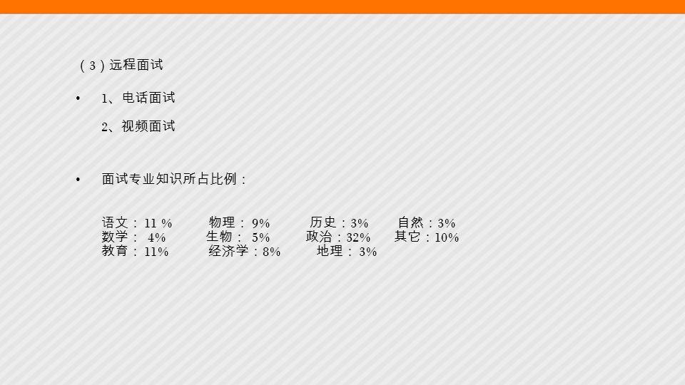 ( 3 )远程面试 1 、电话面试 2 、视频面试 面试专业知识所占比例: 语文: 11 % 物理: 9% 历史: 3% 自然: 3% 数学: 4% 生物: 5% 政治: 32% 其它: 10% 教育: 11% 经济学: 8% 地理: 3%