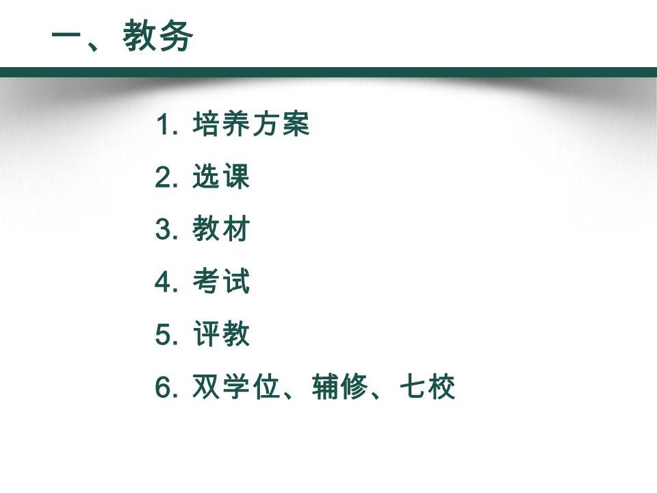 1. 培养方案 2. 选课 3. 教材 4. 考试 5. 评教 6. 双学位、辅修、七校 一、教务