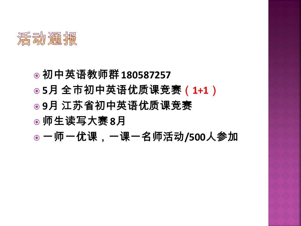  初中英语教师群 180587257  5 月 全市初中英语优质课竞赛( 1+1 )  9 月 江苏省初中英语优质课竞赛  师生读写大赛 8 月  一师一优课,一课一名师活动 /500 人参加