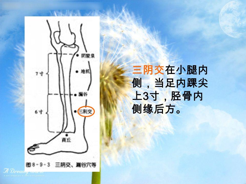 三阴交在小腿内 侧,当足内踝尖 上 3 寸,胫骨内 侧缘后方。