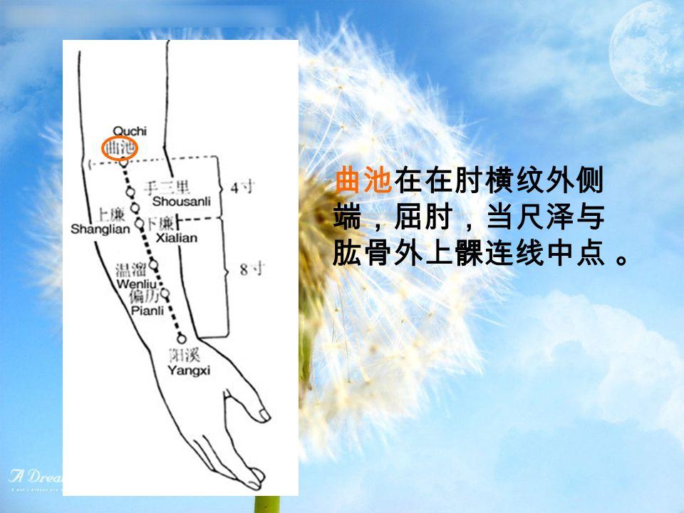 曲池在在肘横纹外侧 端,屈肘,当尺泽与 肱骨外上髁连线中点 。