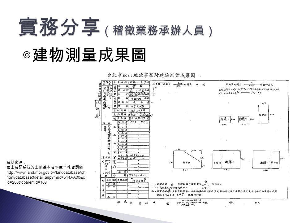 ◎建物測量成果圖 資料來源: 國土資訊系統的土地基本資料庫全球資訊網 http://www.land.moi.gov.tw/landdatabase/ch html/database3detail.asp mno=514AA00&c id=200&cparentid=168