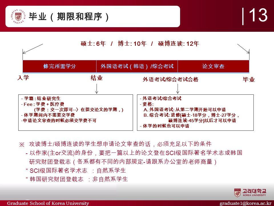 Graduate School of Korea University graduate1@korea.ac.kr 毕业(期限和程序) ※ 攻读博士 / 硕博连读的学生想申请论文审查的话,必须充足以下的条件 - 以作家 ( 主 or 交流 ) 的身份,要把一篇以上的论文登在 SCI 级国际著名学术志或韩国 研究财团登载志(各系都有不同的内部规定 - 请跟系办公室的老师商量) * SCI 级国际著名学术志 :自然系学生 * 韩国研究财团登载志 :非自然系学生 13 修完所需学分外国语考试(韩语) / 综合考试论文审查 入学 毕业 硕士 : 6 年 / 博士 : 10 年 / 硕博连读 : 12 年 - 学籍 : 结业研究生 - Fee : 学费 + 医疗费 ( 学费:交一次即可 -- 〉在提交论文的学期, ) - 休学期间内不需要交学费 - 申请论文审查的时候必须交学费不可 - 外语考试 / 综合考试 - 资格 : A.
