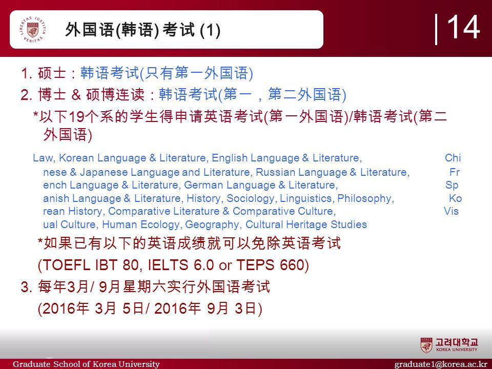Graduate School of Korea University graduate1@korea.ac.kr 外国语 ( 韩语 ) 考试 (1) 14 1.