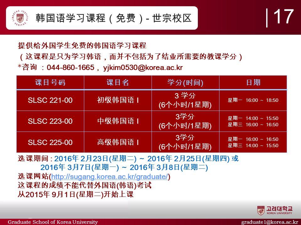 Graduate School of Korea University graduate1@korea.ac.kr 韩国语学习课程(免费) - 世宗校区 提供给外国学生免费的韩国语学习课程 (这课程是只为学习韩语,而并不包括为了结业所需要的教课学分) * 咨询 : 044-860-1665 , yjkim0530@korea.ac.kr 选课期间 : 2016 年 2 月 23 日 ( 星期二 ) ~ 2016 年 2 月 25 日 ( 星期四 ) 或 2016 年 3 月 7 日 ( 星期一 ) ~ 2016 年 3 月 8 日 ( 星期二 ) 选课网站 (http://sugang.korea.ac.kr/graduate/)http://sugang.korea.ac.kr/graduate/ 这课程的成绩不能代替外国语 ( 韩语 ) 考试 从 2015 年 9 月 1 日 ( 星期二 ) 开始上课 课目号码课目名学分 ( 时间 ) 日期 SLSC 221-00 初级韩国语 I 3 学分 (6 个小时 /1 星期 ) 星期一 16:00 ~ 18:50 SLSC 223-00 中级韩国语 I 3 学分 (6 个小时 /1 星期 ) 星期一 14:00 ~ 15:50 星期三 16:00 ~ 16:50 SLSC 225-00 高级韩国语 I 3 学分 (6 个小时 /1 星期 ) 星期一 16:00 ~ 16:50 星期三 14:00 ~ 15:50 1717