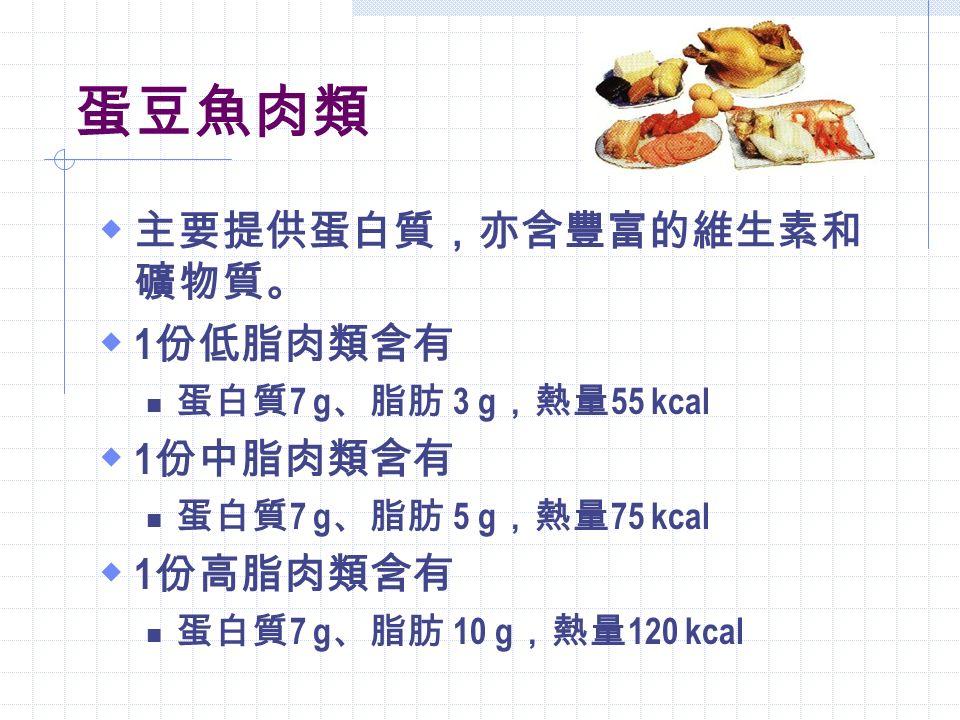 1 份奶類  低脂或脫脂鮮奶 240 c.c.  低脂或脫脂奶粉 3 匙  全脂奶粉 4 匙  起司 2 片