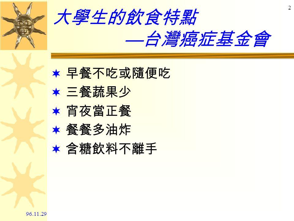 96.11.291 健康膳食在校園 郭素娥 成大醫院營養部