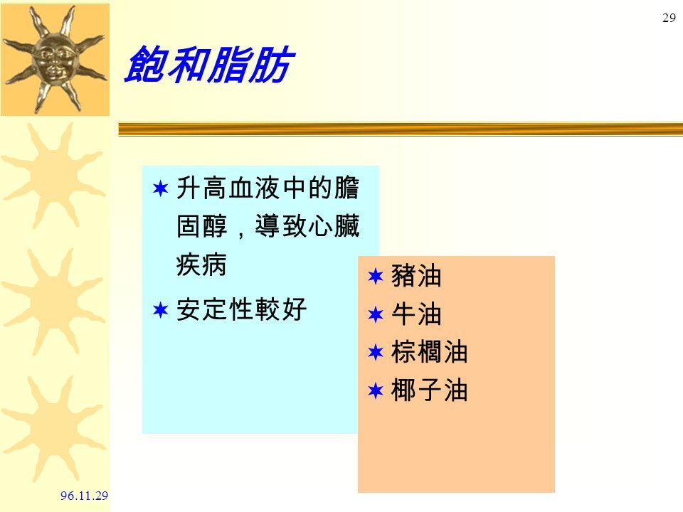96.11.29 28 選好油 -- 脂肪酸的分類 飽和脂肪 - C - C- C - C- C- C- 單元不飽和脂肪 -C- C= C- C- C- C- 多元不飽和脂肪 - C - C= C- C- C= C- C-