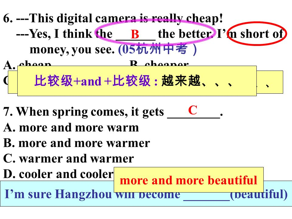 6. ---This digital camera is really cheap. ---Yes, I think the ______ the better.