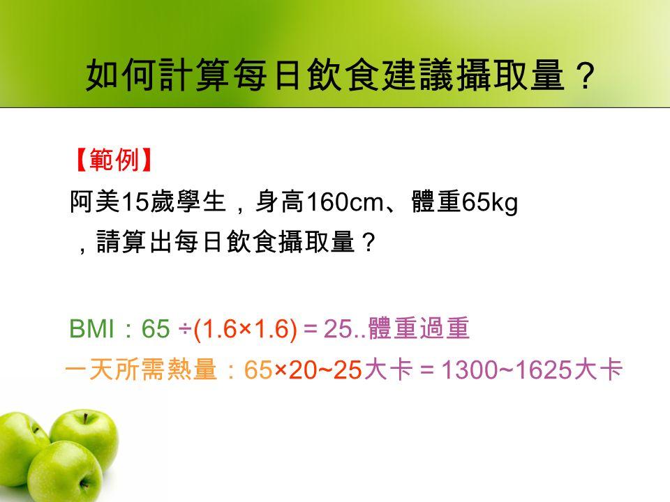 如何計算每日飲食建議攝取量? 【範例】 阿美 15 歲學生,身高 160cm 、體重 65kg ,請算出每日飲食攝取量? BMI : 65 ÷(1.6×1.6) = 25..