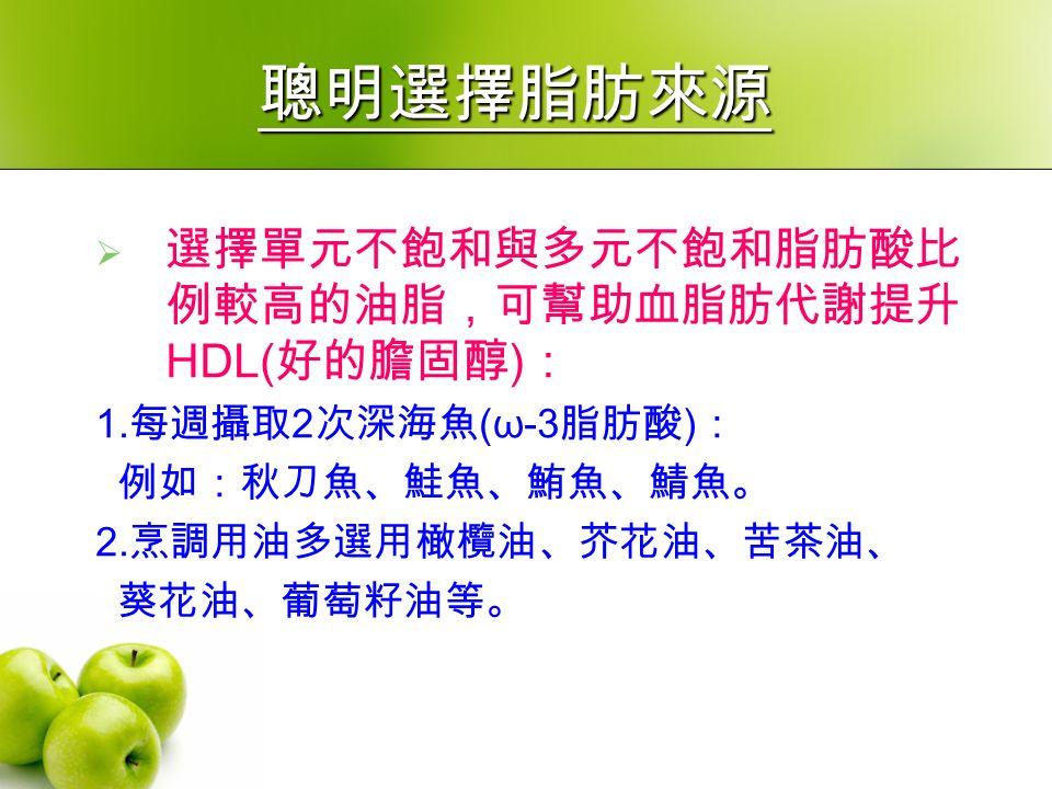 聰明選擇脂肪來源  選擇單元不飽和與多元不飽和脂肪酸比 例較高的油脂,可幫助血脂肪代謝提升 HDL( 好的膽固醇 ) : 1.