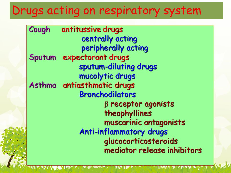 Drugs acting on respiratory system Cough antitussive drugs centrally acting centrally acting peripherally acting peripherally acting Sputum expectorant drugs sputum-diluting drugs sputum-diluting drugs mucolytic drugs mucolytic drugs Asthma antiasthmatic drugs Bronchodilators Bronchodilators  receptor agonists  receptor agonists theophyllines theophyllines muscarinic antagonists muscarinic antagonists Anti-inflammatory drugs Anti-inflammatory drugs glucocorticosteroids glucocorticosteroids mediator release inhibitors mediator release inhibitors