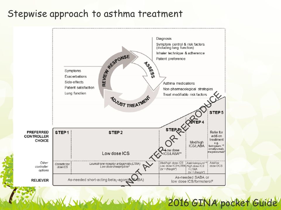 Stepwise approach to asthma treatment 2016 GINA pocket Guide