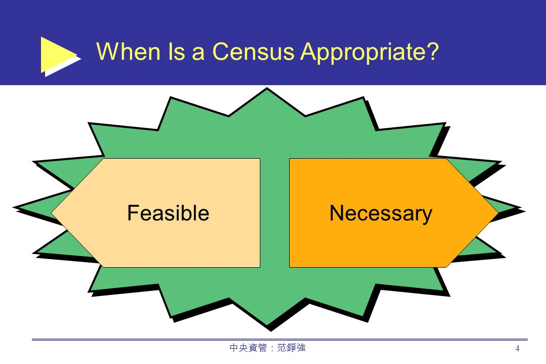 中央資管:范錚強 4 When Is a Census Appropriate NecessaryFeasible