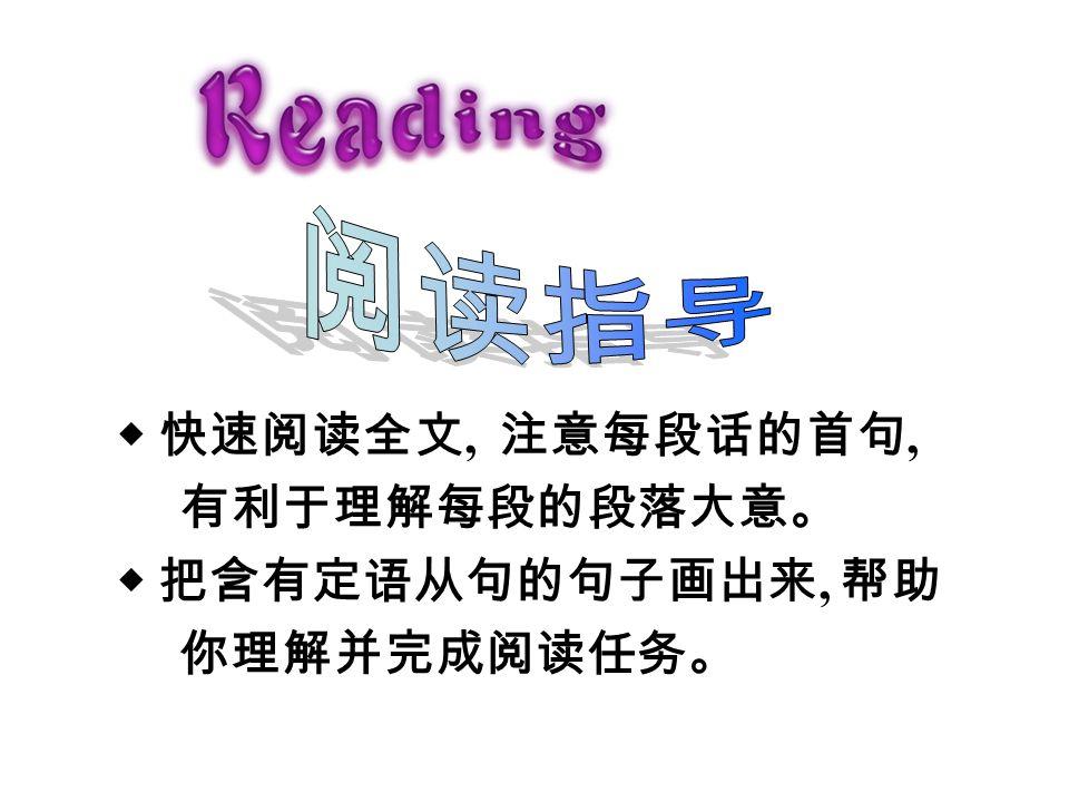 ◆ 快速阅读全文, 注意每段话的首句, 有利于理解每段的段落大意。 ◆ 把含有定语从句的句子画出来, 帮助 你理解并完成阅读任务。 3a