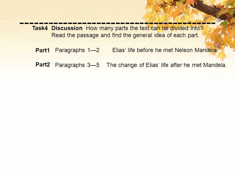 Part1 Part2 Paragraphs 1—2 Paragraphs 3—5 Elias' life before he met Nelson Mandela.