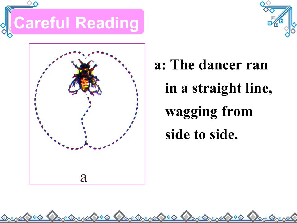 a: The dancer ran in a straight line, wagging from side to side. Careful Reading