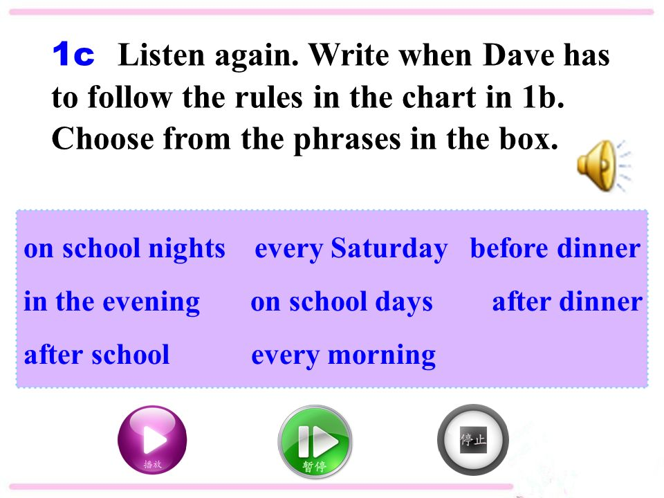 1c Listen again. Write when Dave has to follow the rules in the chart in 1b.