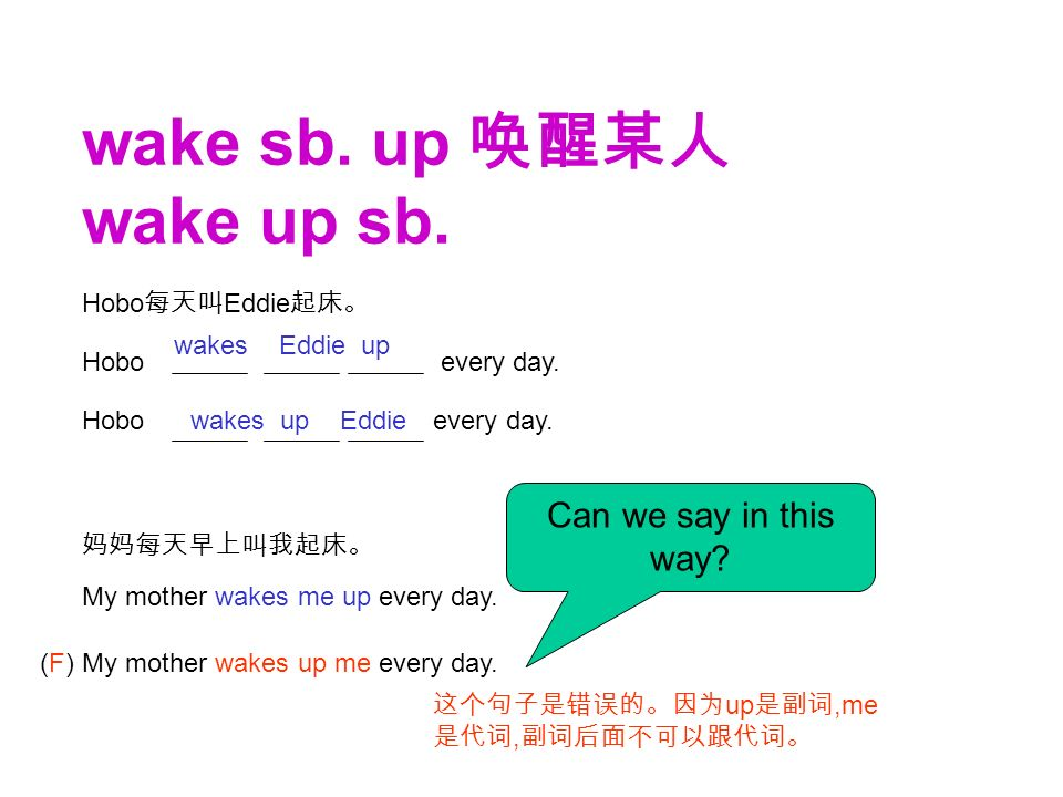 wake sb. up 唤醒某人 wake up sb. 妈妈每天早上叫我起床。 My mother wakes me up every day.