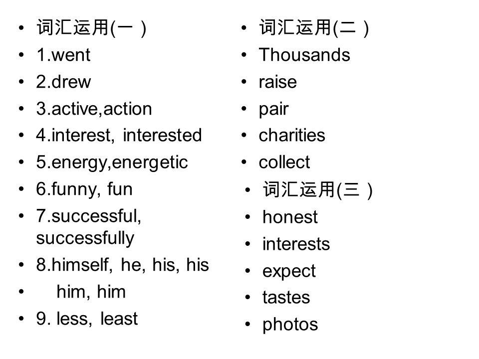 词汇运用 ( 一) 1.went 2.drew 3.active,action 4.interest, interested 5.energy,energetic 6.funny, fun 7.successful, successfully 8.himself, he, his, his him, him 9.