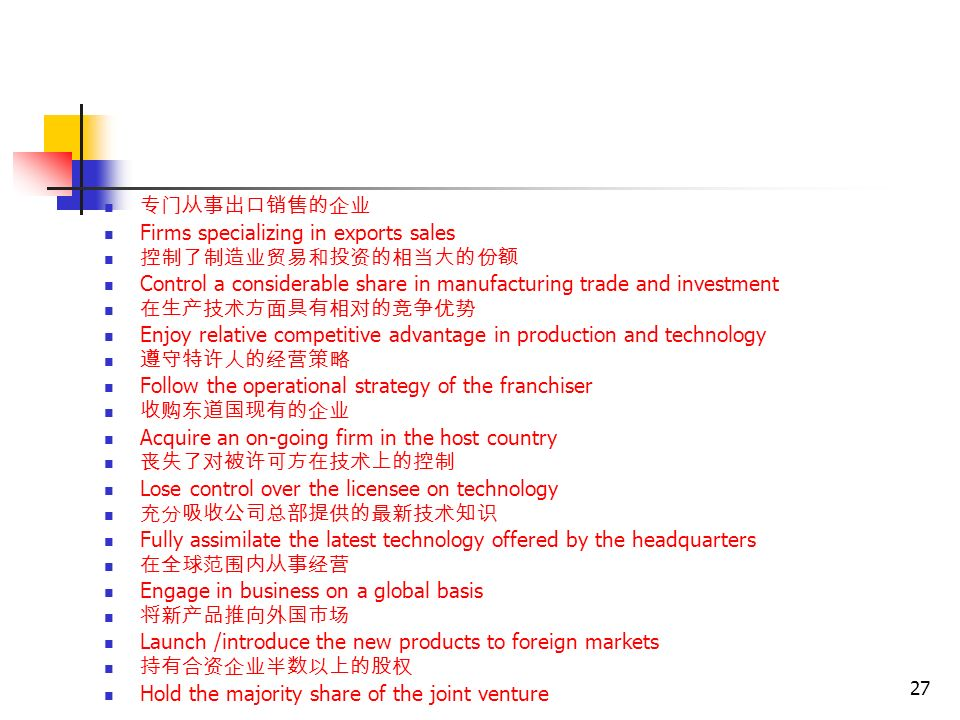 27 Put the following into English 专门从事出口销售的企业 Firms specializing in exports sales 控制了制造业贸易和投资的相当大的份额 Control a considerable share in manufacturing trade and investment 在生产技术方面具有相对的竞争优势 Enjoy relative competitive advantage in production and technology 遵守特许人的经营策略 Follow the operational strategy of the franchiser 收购东道国现有的企业 Acquire an on-going firm in the host country 丧失了对被许可方在技术上的控制 Lose control over the licensee on technology 充分吸收公司总部提供的最新技术知识 Fully assimilate the latest technology offered by the headquarters 在全球范围内从事经营 Engage in business on a global basis 将新产品推向外国市场 Launch /introduce the new products to foreign markets 持有合资企业半数以上的股权 Hold the majority share of the joint venture