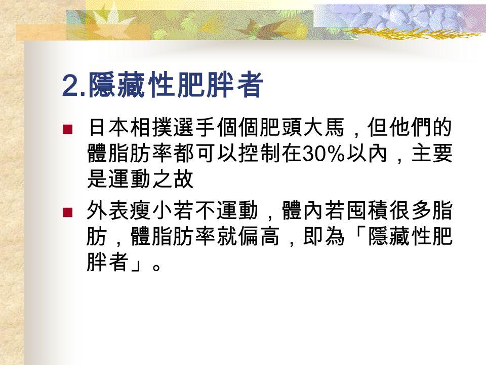 2. 隱藏性肥胖者 日本相撲選手個個肥頭大馬,但他們的 體脂肪率都可以控制在 30% 以內,主要 是運動之故 外表瘦小若不運動,體內若囤積很多脂 肪,體脂肪率就偏高,即為「隱藏性肥 胖者」。