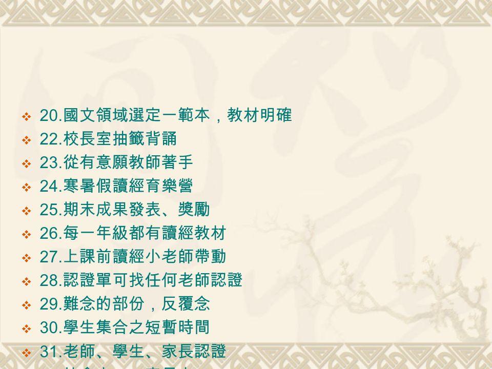  20. 國文領域選定一範本,教材明確  22. 校長室抽籤背誦  23. 從有意願教師著手  24.