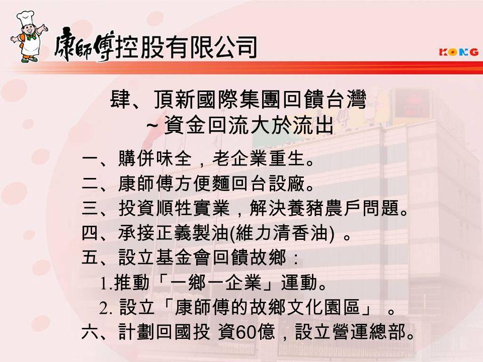 肆、頂新國際集團回饋台灣 ~資金回流大於流出 一、購併味全,老企業重生。 二、康師傅方便麵回台設廠。 三、投資順牲實業,解決養豬農戶問題。 四、承接正義製油 ( 維力清香油 ) 。 五、設立基金會回饋故鄉: 1.