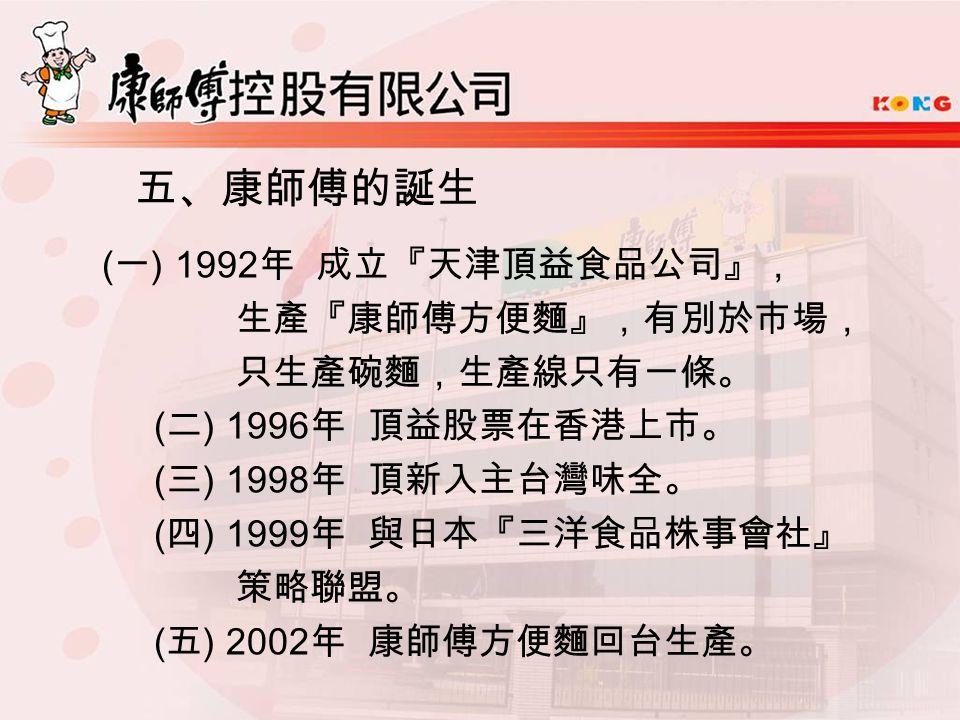 五、康師傅的誕生 ( 一 ) 1992 年 成立『天津頂益食品公司』, 生產『康師傅方便麵』,有別於市場, 只生產碗麵,生產線只有一條。 ( 二 ) 1996 年 頂益股票在香港上市。 ( 三 ) 1998 年 頂新入主台灣味全。 ( 四 ) 1999 年 與日本『三洋食品株事會社』 策略聯盟。 ( 五 ) 2002 年 康師傅方便麵回台生產。