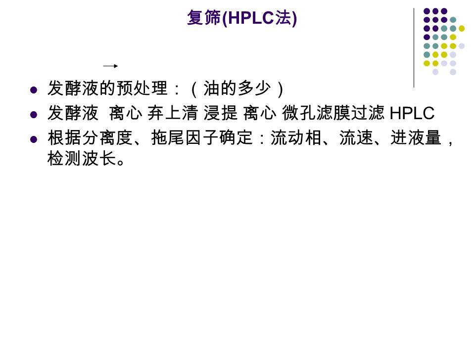 复筛 (HPLC 法 ) 发酵液的预处理:(油的多少) 发酵液 离心 弃上清 浸提 离心 微孔滤膜过滤 HPLC 根据分离度、拖尾因子确定:流动相、流速、进液量, 检测波长。