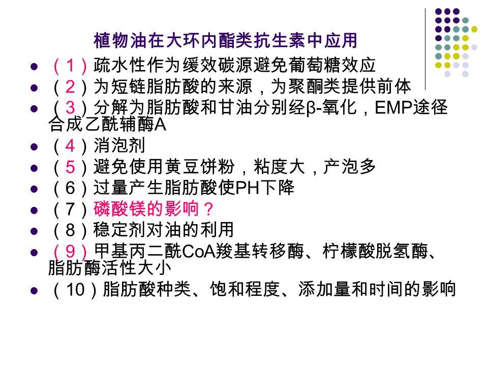 植物油在大环内酯类抗生素中应用 ( 1 )疏水性作为缓效碳源避免葡萄糖效应 ( 2 )为短链脂肪酸的来源,为聚酮类提供前体 ( 3 )分解为脂肪酸和甘油分别经 β- 氧化, EMP 途径 合成乙酰辅酶 A ( 4 )消泡剂 ( 5 )避免使用黄豆饼粉,粘度大,产泡多 ( 6 )过量产生脂肪酸使 PH 下降 ( 7 )磷酸镁的影响? ( 8 )稳定剂对油的利用 ( 9 )甲基丙二酰 CoA 羧基转移酶、柠檬酸脱氢酶、 脂肪酶活性大小 ( 10 )脂肪酸种类、饱和程度、添加量和时间的影响