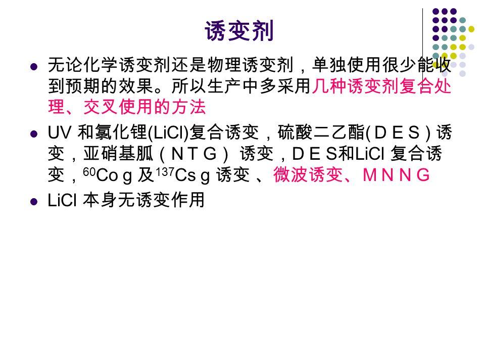 诱变剂 无论化学诱变剂还是物理诱变剂,单独使用很少能收 到预期的效果。所以生产中多采用几种诱变剂复合处 理、交叉使用的方法 UV 和氯化锂 (LiCl) 复合诱变,硫酸二乙酯 ( D E S ) 诱 变,亚硝基胍( N T G ) 诱变, D E S 和 LiCl 复合诱 变, 60 Co g 及 137 Cs g 诱变 、微波诱变、MNNG LiCl 本身无诱变作用