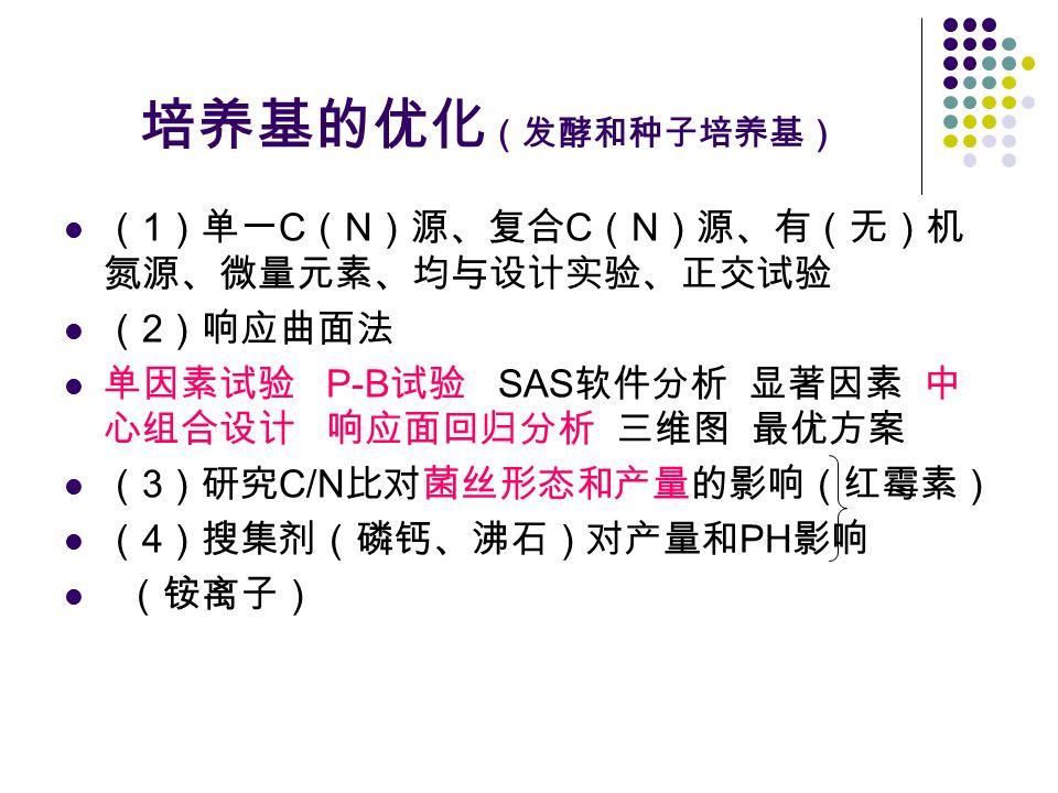 培养基的优化 (发酵和种子培养基) ( 1 )单一 C ( N )源、复合 C ( N )源、有(无)机 氮源、微量元素、均与设计实验、正交试验 ( 2 )响应曲面法 单因素试验 P-B 试验 SAS 软件分析 显著因素 中 心组合设计 响应面回归分析 三维图 最优方案 ( 3 )研究 C/N 比对菌丝形态和产量的影响(红霉素) ( 4 )搜集剂(磷钙、沸石)对产量和 PH 影响 (铵离子)