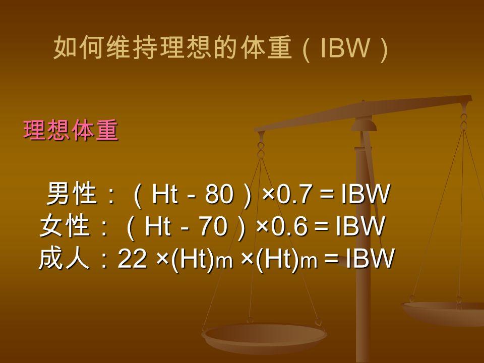 理想体重 男性:( Ht - 80 ) ×0.7 = IBW 女性:( Ht - 70 ) ×0.6 = IBW 成人: 22 ×(Ht) m ×(Ht) m = IBW 如何维持理想的体重( IBW )