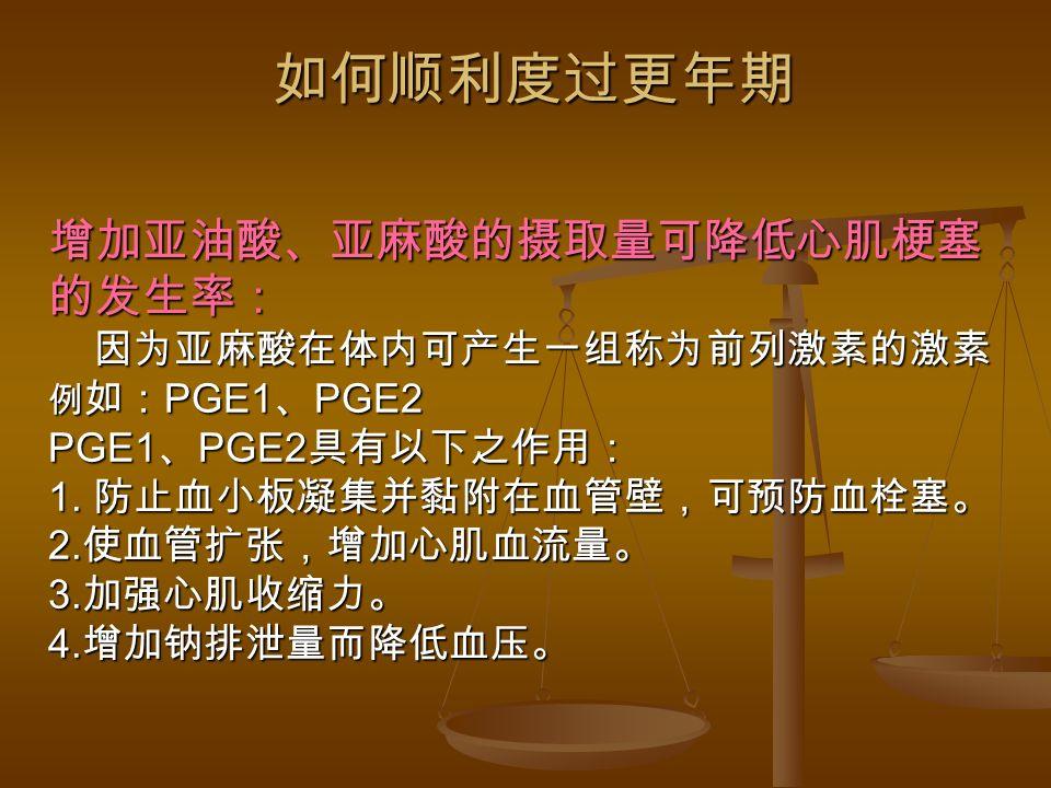 增加亚油酸、亚麻酸的摄取量可降低心肌梗塞 的发生率: 因为亚麻酸在体内可产生一组称为前列激素的激素 例 如: PGE1 、 PGE2 PGE1 、 PGE2 具有以下之作用: 1.