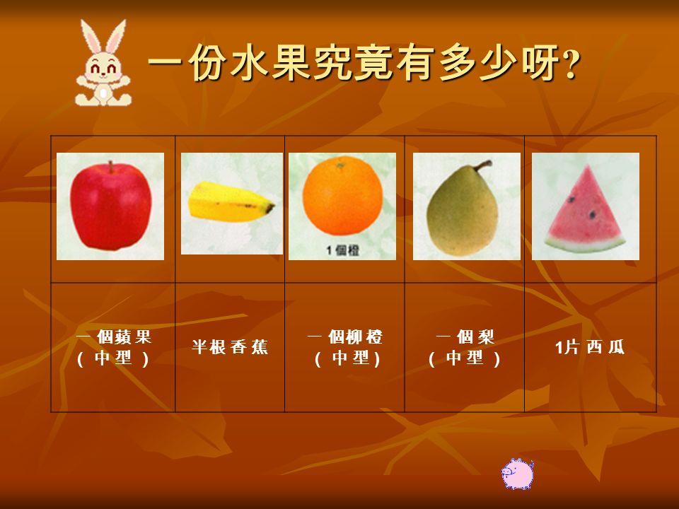 一份水果究竟有多少呀 一 個蘋 果 ( 中 型 ) 半根 香 蕉 一 個柳 橙 ( 中 型 ) 一 個 梨( 中 型 )一 個 梨( 中 型 ) 1片 西 瓜1片 西 瓜