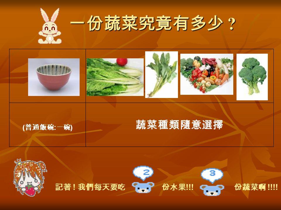 一份蔬菜究竟有多少 ( 普通飯碗 : 一碗 ) 蔬菜種類隨意選擇 記著 ! 我們每天要吃 份水果 !!! 份蔬菜啊 !!!!