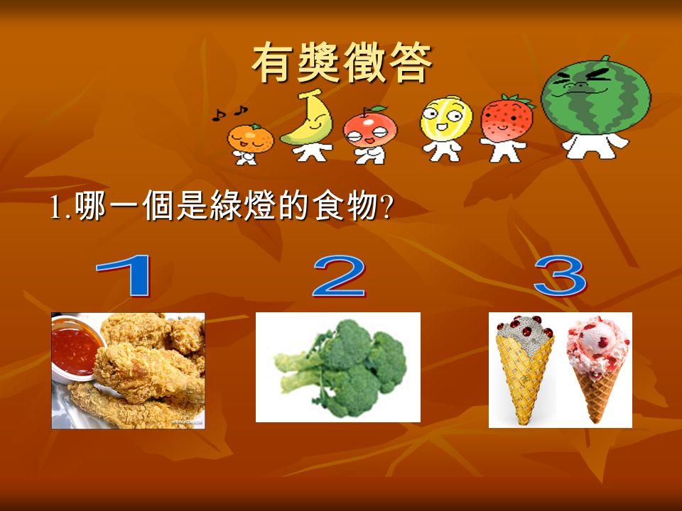 有獎徵答 1. 哪一個是綠燈的食物