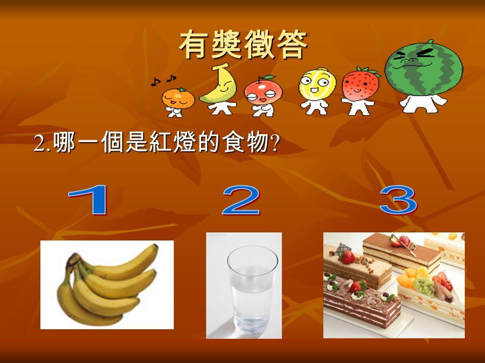 有獎徵答 2. 哪一個是紅燈的食物